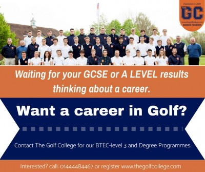 Waiting for Your GCSE or A Level results. Want a career in Golf